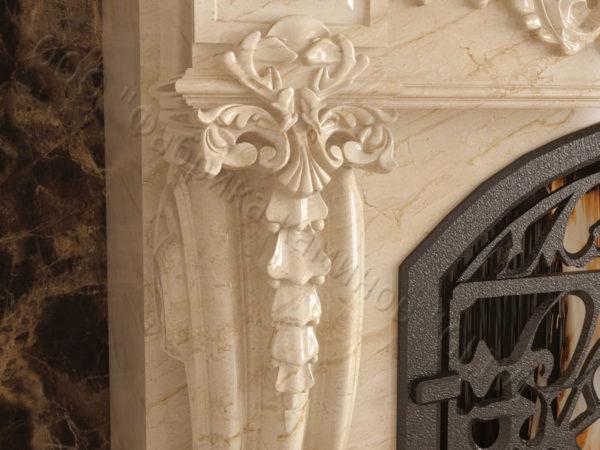 Мраморный камин с открытой топкой Эрос, каталог (интернет-магазин) каминов из мрамора, изображение, фото 7