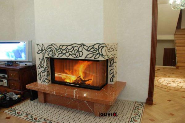 Мраморный каминный портал (облицовка) Флай, каталог (интернет-магазин) каминов из мрамора, изображение, фото 1