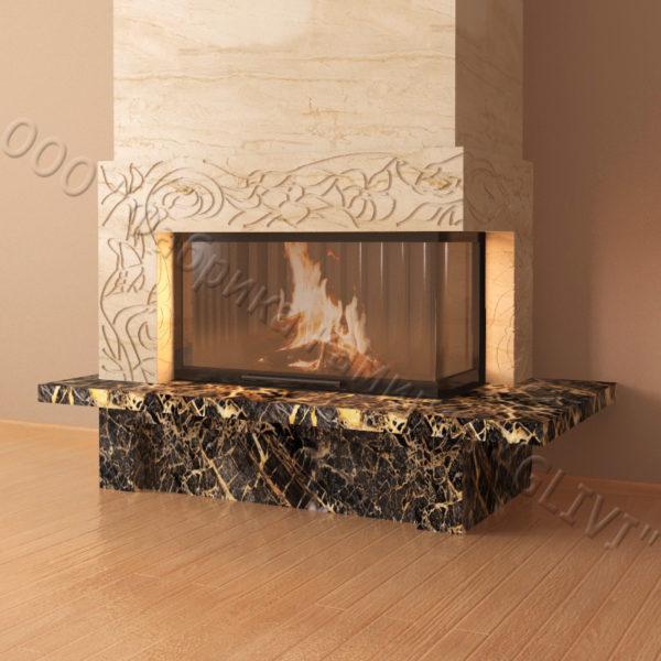 Мраморный каминный портал (облицовка) Флай, каталог (интернет-магазин) каминов из мрамора, изображение, фото 2