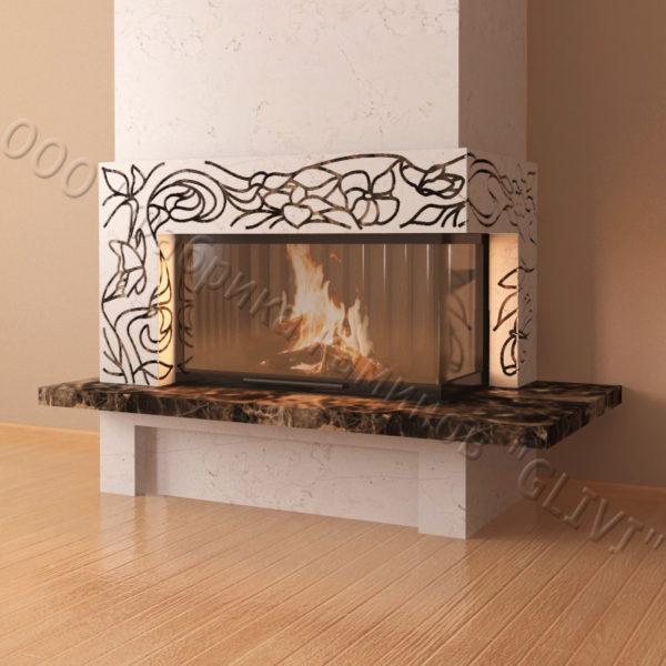 Мраморный каминный портал (облицовка) Флай, каталог (интернет-магазин) каминов из мрамора, изображение, фото 3