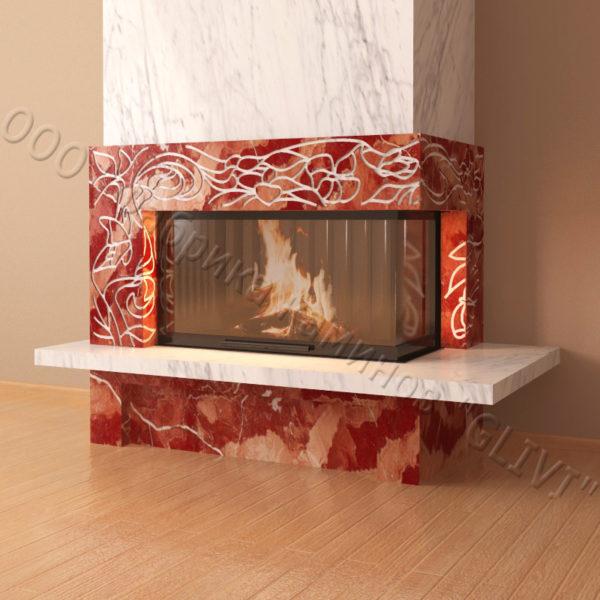 Мраморный каминный портал (облицовка) Флай, каталог (интернет-магазин) каминов из мрамора, изображение, фото 4