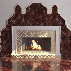 Мраморный каминный портал (облицовка) в восточном (арабском) стиле Гания, каталог (интернет-магазин) каминов из мрамора, изображение, фото 1