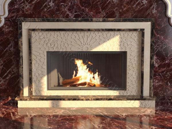 Мраморный каминный портал (облицовка) в восточном (арабском) стиле Гания, каталог (интернет-магазин) каминов из мрамора, изображение, фото 10