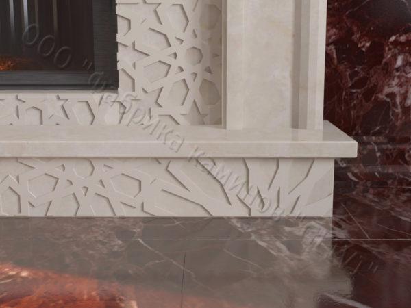 Мраморный каминный портал (облицовка) в восточном (арабском) стиле Гания, каталог (интернет-магазин) каминов из мрамора, изображение, фото 3