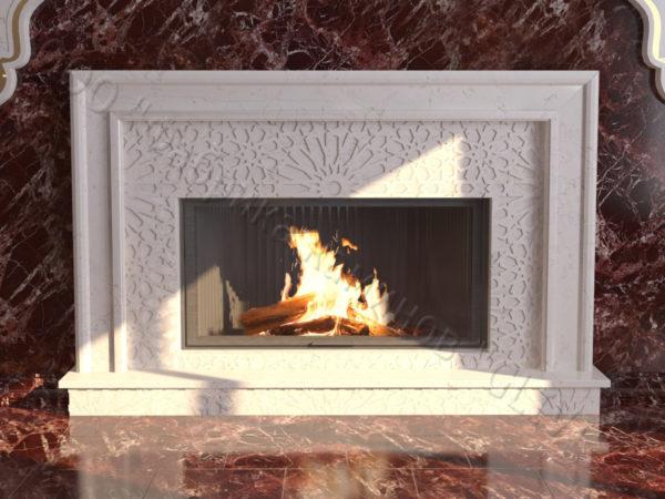Мраморный каминный портал (облицовка) в восточном (арабском) стиле Гания, каталог (интернет-магазин) каминов из мрамора, изображение, фото 4