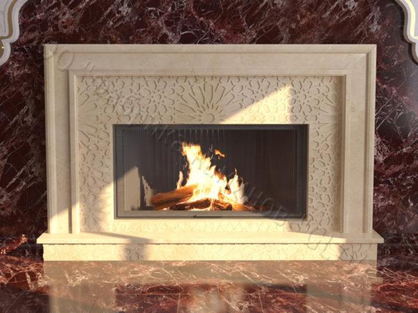 Мраморный каминный портал (облицовка) в восточном (арабском) стиле Гания, каталог (интернет-магазин) каминов из мрамора, изображение, фото 5