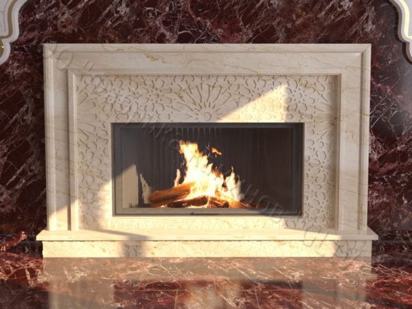 Мраморный каминный портал (облицовка) в восточном (арабском) стиле Гания, каталог (интернет-магазин) каминов из мрамора, изображение, фото 6