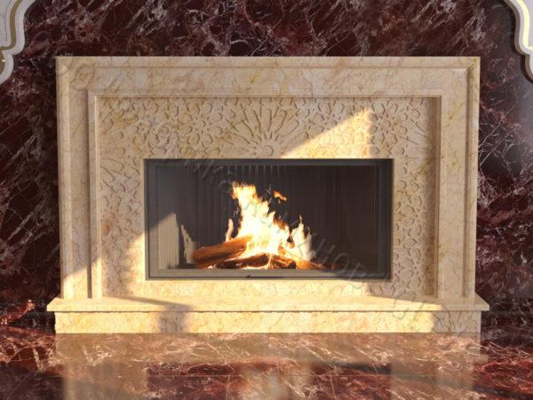 Мраморный каминный портал (облицовка) в восточном (арабском) стиле Гания, каталог (интернет-магазин) каминов из мрамора, изображение, фото 7