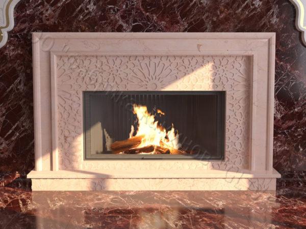 Мраморный каминный портал (облицовка) в восточном (арабском) стиле Гания, каталог (интернет-магазин) каминов из мрамора, изображение, фото 9