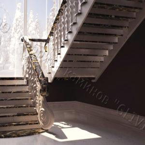 Лестница из натурального мрамора Герда, интернет-магазин лестниц, изображение, фото 1