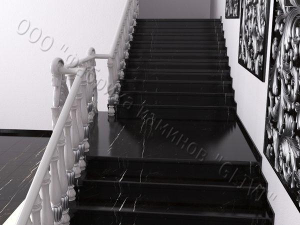 Лестница из натурального мрамора Глориоза, интернет-магазин лестниц, изображение, фото 2