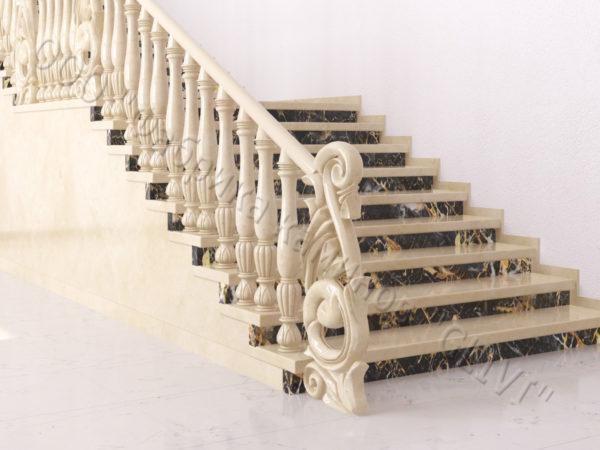 Лестница из натурального мрамора Глориоза, интернет-магазин лестниц, изображение, фото 4