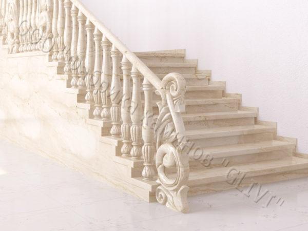 Лестница из натурального мрамора Глориоза, интернет-магазин лестниц, изображение, фото 5