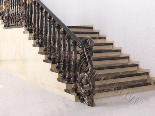 Лестница из натурального мрамора Глориоза, интернет-магазин лестниц, изображение, фото 6