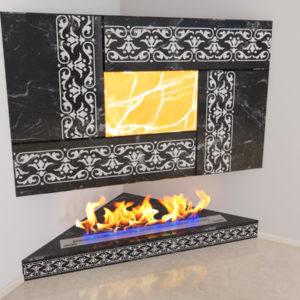 Настенный угловой каминный портал (облицовка) для биокамина Олив, изображение, фото 1