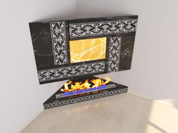 Настенный угловой каминный портал (облицовка) для биокамина Олив, изображение, фото 2