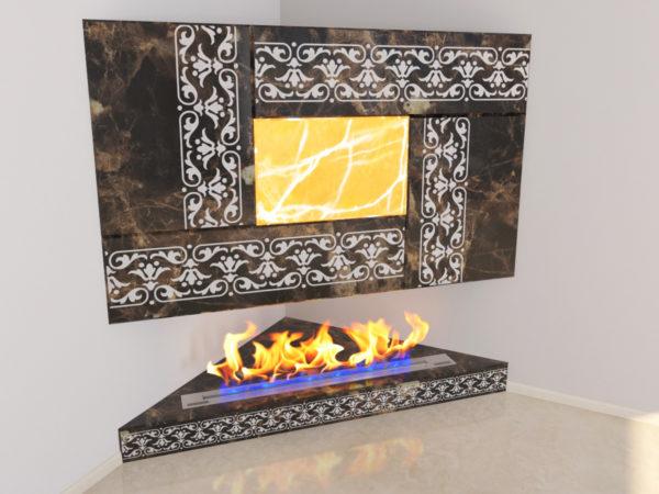 Настенный угловой каминный портал (облицовка) для биокамина Олив, изображение, фото 3