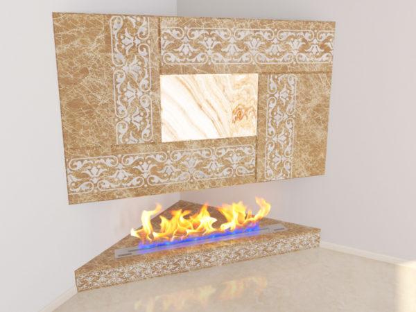 Настенный угловой каминный портал (облицовка) для биокамина Олив, изображение, фото 4