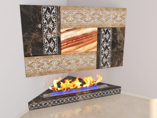 Настенный угловой каминный портал (облицовка) для биокамина Олив, изображение, фото 5