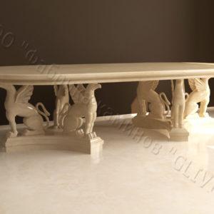 Стол из натурального камня (мрамора) Грифа, интернет-магазин столов, изображение, фото 1