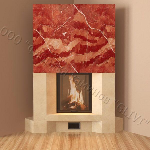 Угловой (пристенный) каминный портал (облицовка) Ирэн, каталог (интернет-магазин) каминов, изображение, фото 3