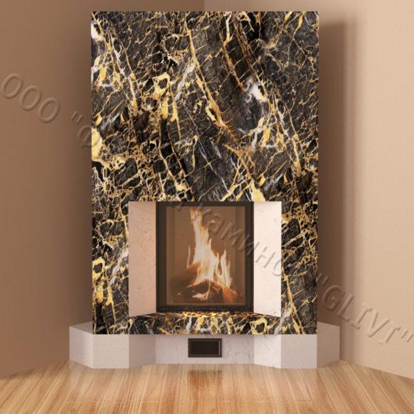 Угловой (пристенный) каминный портал (облицовка) Ирэн, каталог (интернет-магазин) каминов, изображение, фото 6