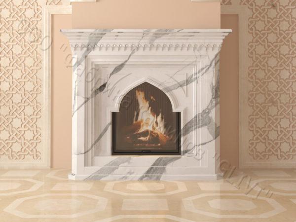 Мраморный каминный портал (облицовка) в восточном (арабском) стиле Кадрия, каталог (интернет-магазин) каминов из мрамора, изображение, фото 1