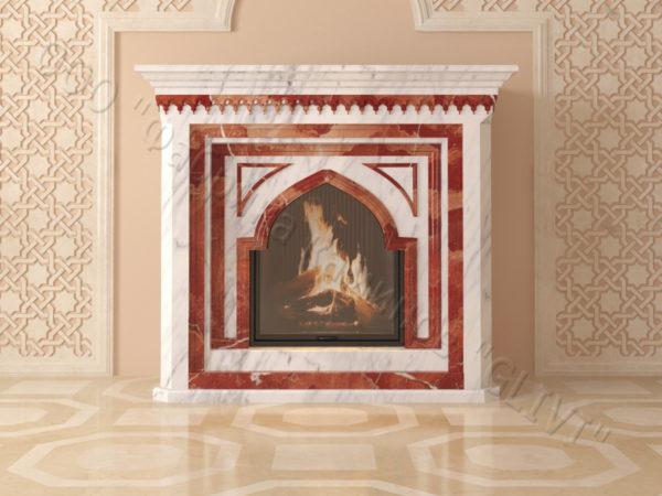 Мраморный каминный портал (облицовка) в восточном (арабском) стиле Кадрия, каталог (интернет-магазин) каминов из мрамора, изображение, фото 10
