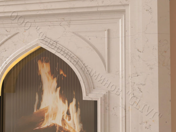 Мраморный каминный портал (облицовка) в восточном (арабском) стиле Кадрия, каталог (интернет-магазин) каминов из мрамора, изображение, фото 3