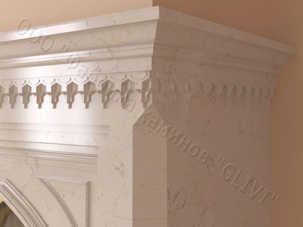 Мраморный каминный портал (облицовка) в восточном (арабском) стиле Кадрия, каталог (интернет-магазин) каминов из мрамора, изображение, фото 4