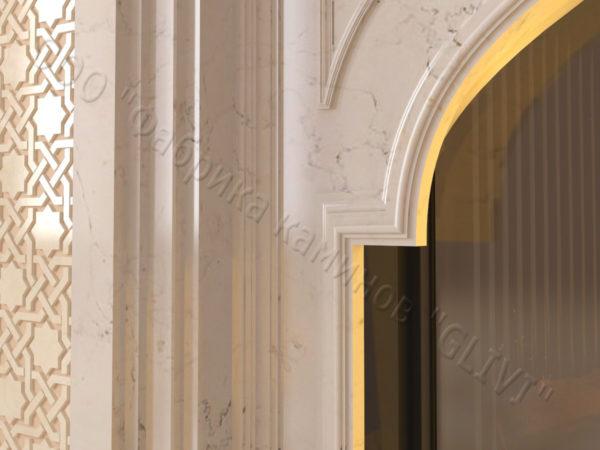 Мраморный каминный портал (облицовка) в восточном (арабском) стиле Кадрия, каталог (интернет-магазин) каминов из мрамора, изображение, фото 5