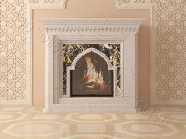 Мраморный каминный портал (облицовка) в восточном (арабском) стиле Кадрия, каталог (интернет-магазин) каминов из мрамора, изображение, фото 6