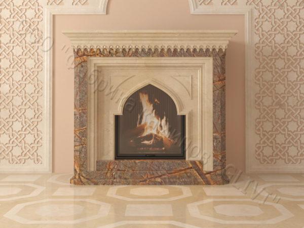 Мраморный каминный портал (облицовка) в восточном (арабском) стиле Кадрия, каталог (интернет-магазин) каминов из мрамора, изображение, фото 8