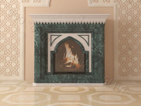 Мраморный каминный портал (облицовка) в восточном (арабском) стиле Кадрия, каталог (интернет-магазин) каминов из мрамора, изображение, фото 9