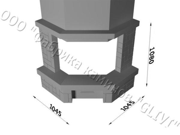 Угловой (пристенный) каминный портал (облицовка) Кинтай, каталог (интернет-магазин) каминов, изображение, фото 1