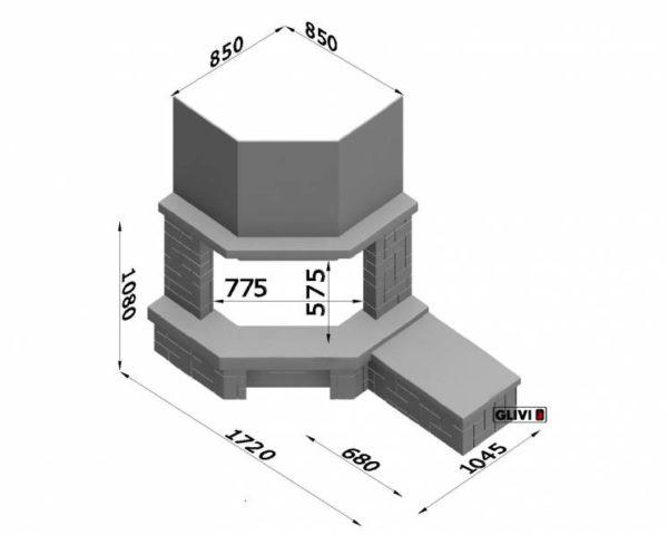 Угловой (пристенный) каминный портал (облицовка) Кинтай с банкеткой, каталог (интернет-магазин) каминов, изображение, фото 2