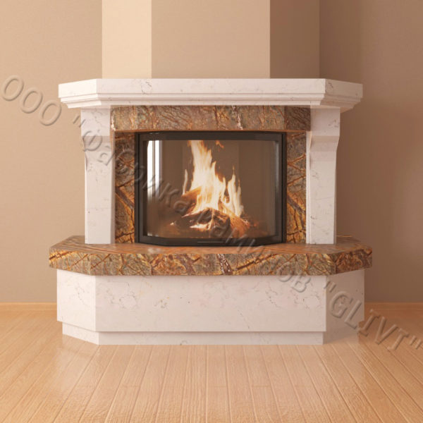 Мраморный каминный портал (облицовка) Клеопатра, каталог (интернет-магазин) каминов из мрамора, изображение, фото 4