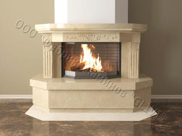 Мраморный каминный портал (облицовка) Клеопатра, каталог (интернет-магазин) каминов из мрамора, изображение, фото 9
