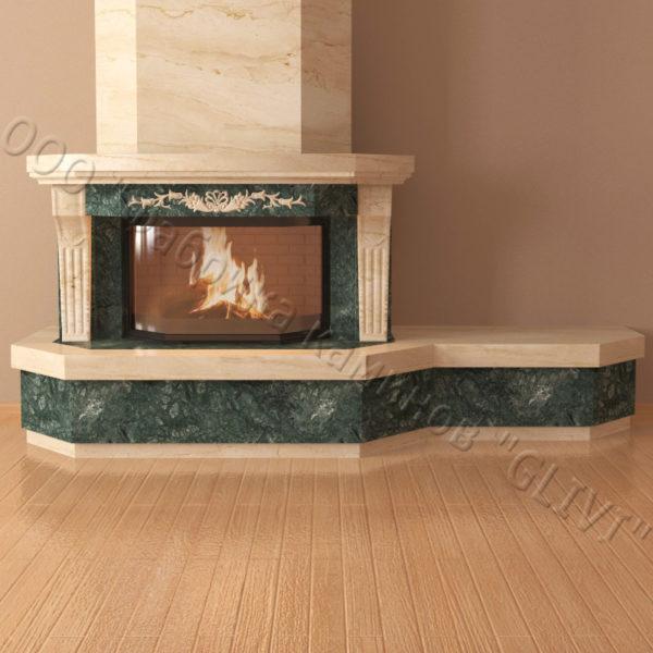 Мраморный каминный портал (облицовка) Клеопатра Р с банкеткой, каталог (интернет-магазин) каминов из мрамора, изображение, фото 2