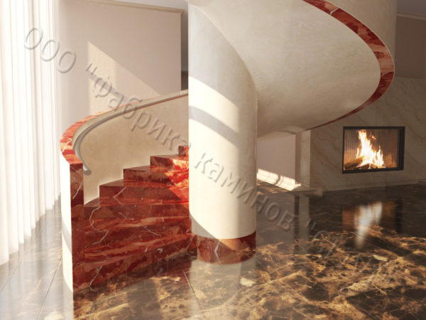 Лестница из натурального мрамора Клориум, интернет-магазин лестниц, изображение, фото 1
