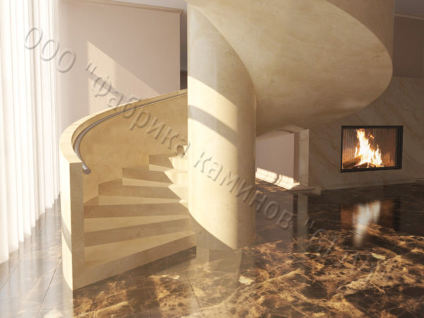 Лестница из натурального мрамора Клориум, интернет-магазин лестниц, изображение, фото 5