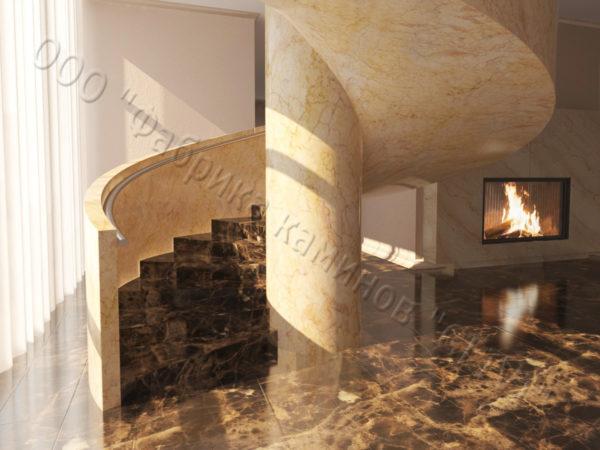 Лестница из натурального мрамора Клориум, интернет-магазин лестниц, изображение, фото 6