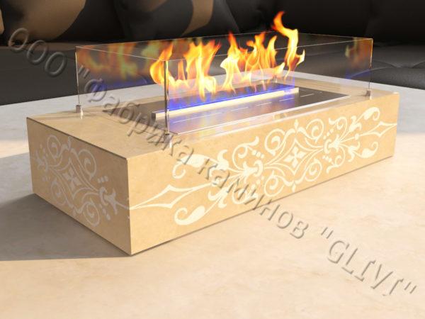 Мраморная облицовка (каминный портал) для камина на биотопливе Копи, каталог (интернет-магазин) каминов из мрамора, изображение, фото 5