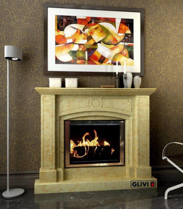Мраморный каминный портал (облицовка) Корсар, каталог (интернет-магазин) каминов из мрамора, изображение, фото 1