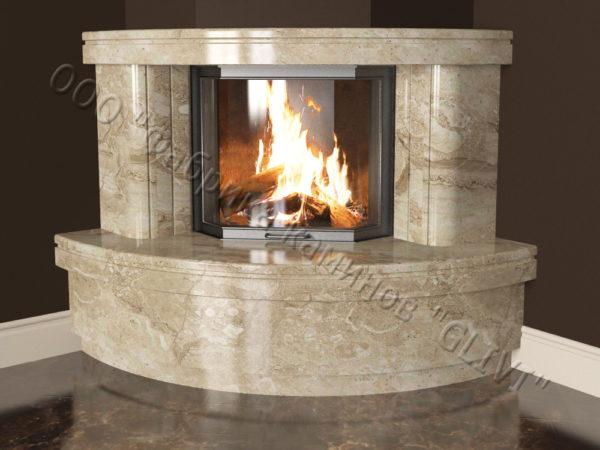 Угловой (пристенный) каминный портал (облицовка) Лантана без банкетки, каталог (интернет-магазин) каминов, изображение, фото 3
