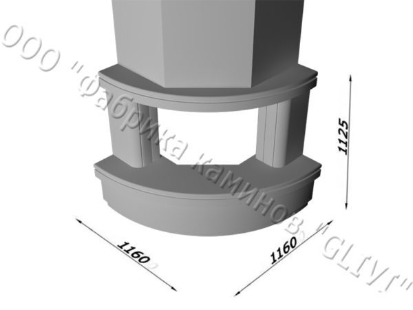 Угловой (пристенный) каминный портал (облицовка) Лантана без банкетки, каталог (интернет-магазин) каминов, изображение, фото 7