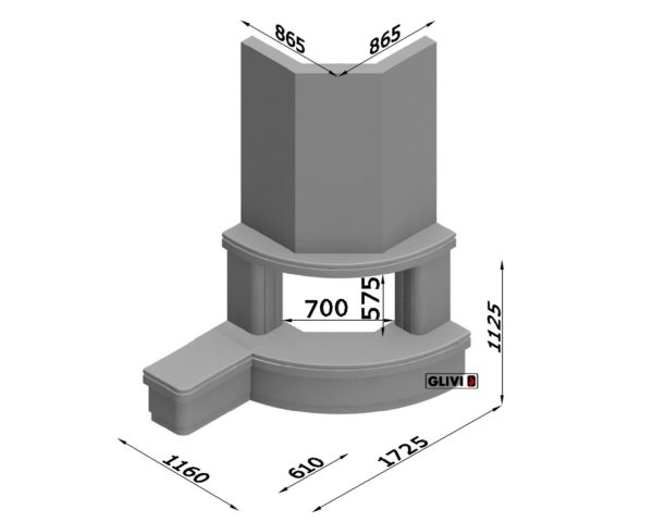 Угловой (пристенный) каминный портал (облицовка) Лантана с банкеткой, каталог (интернет-магазин) каминов, изображение, фото 7