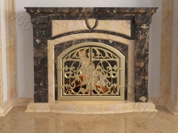 Мраморный камин с открытой топкой Ланже, каталог (интернет-магазин) каминов из мрамора, изображение, фото 6
