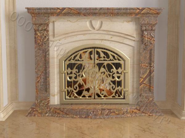 Мраморный камин с открытой топкой Ланже, каталог (интернет-магазин) каминов из мрамора, изображение, фото 8