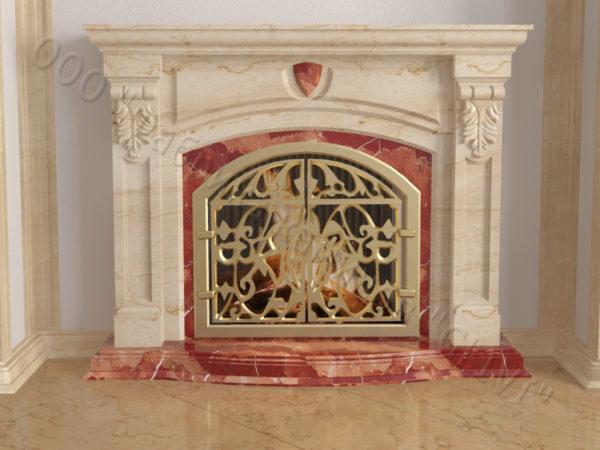 Мраморный камин с открытой топкой Ланже, каталог (интернет-магазин) каминов из мрамора, изображение, фото 9
